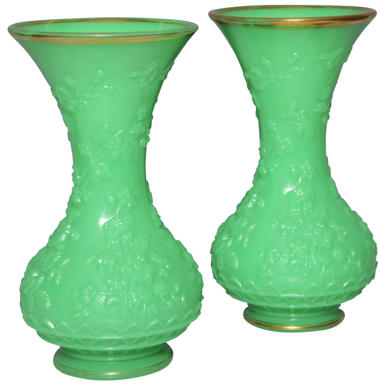"""Pair of French Baluster Shaped Opaline Glass Vases attributed to """"Baccarat"""" For Sale"""