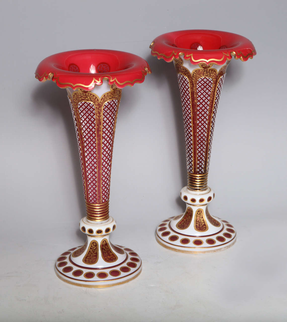 Pair of antique bohemian double overlay cut glass vases for sale a fine pair of antique bohemian white over ruby red hand diamond cut double reviewsmspy