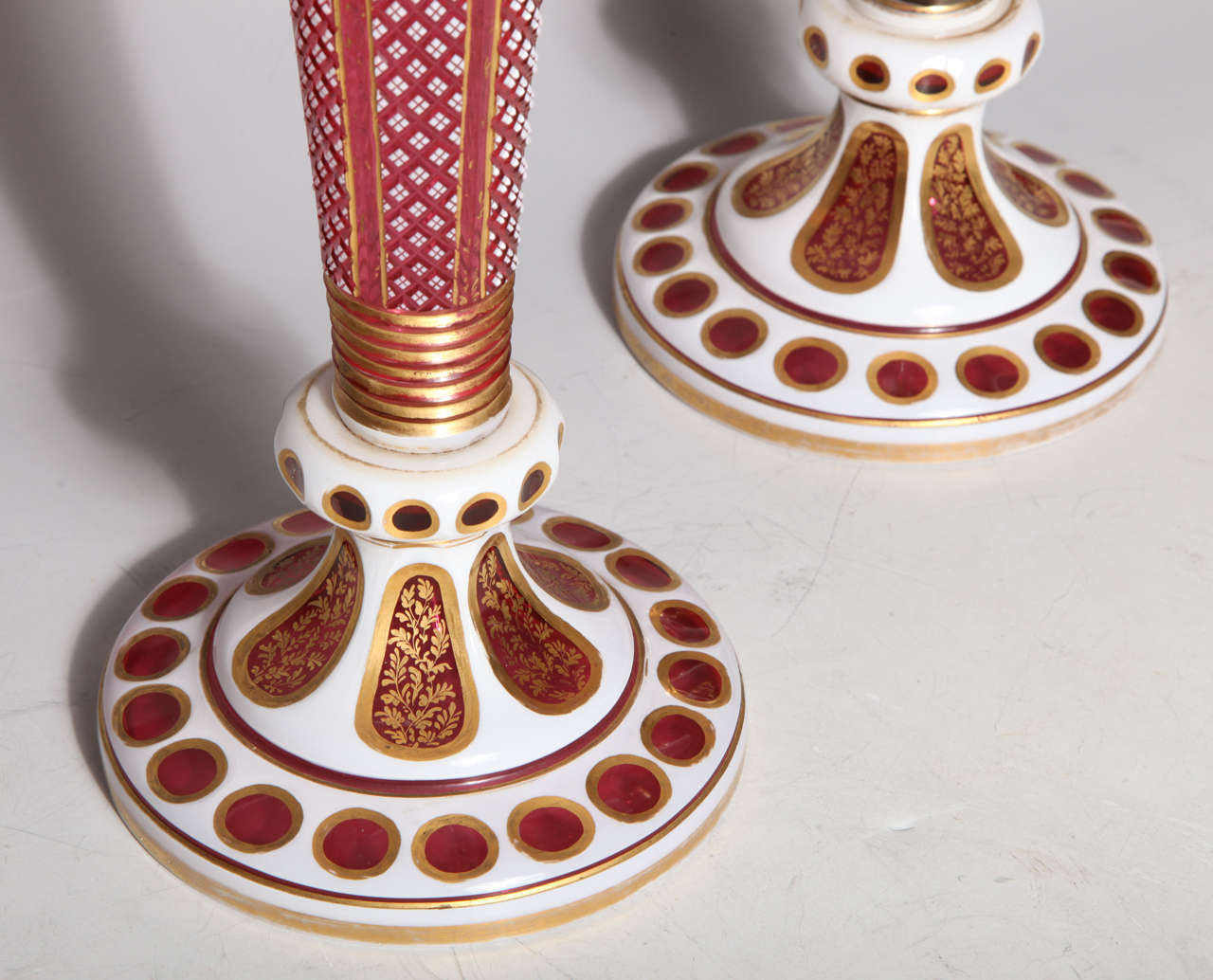 Hand-Carved Pair of Antique Bohemian Double Overlay Cut-Glass Vases For Sale