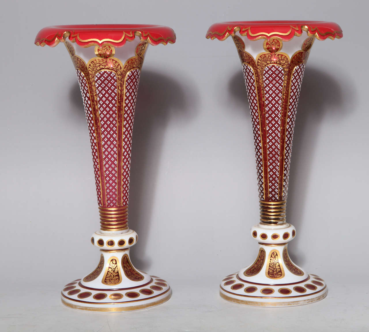 Pair of Antique Bohemian Double Overlay Cut-Glass Vases In Excellent Condition For Sale In New York, NY