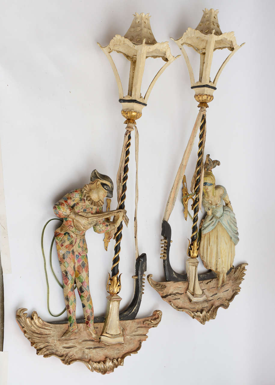 Venetian Wall Sconces : Pair of Venetian Sconces at 1stdibs