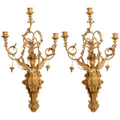 Exceptional Pair of Italian Empire Giltwood Three-Light Wall Appliques