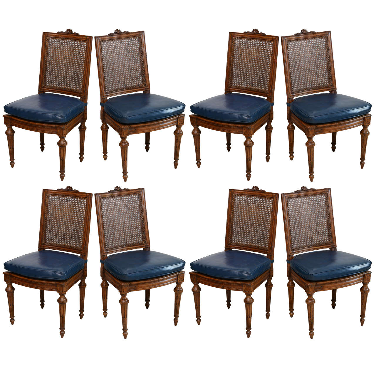 Set Of Eight Louis XVI Beechwood Dining Chairs Late 18th Century For Sale