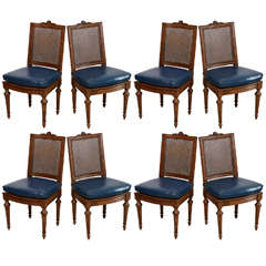 Set of Eight Louis XVI Beechwood Dining Chairs, Late 18th Century