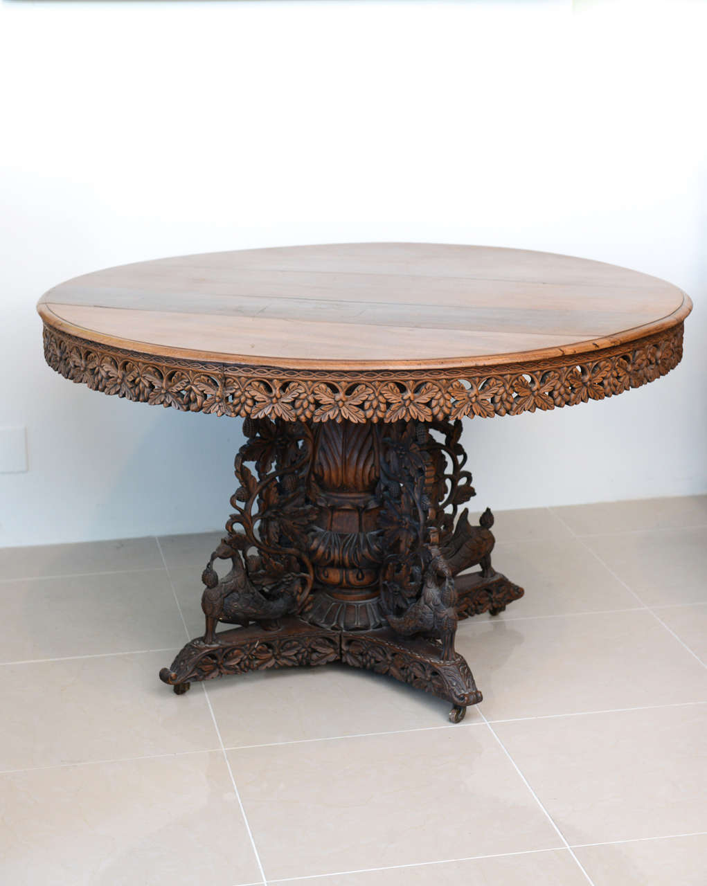 Anglo Indian Teak and Padouk CenterDining Table For Sale  : B from www.1stdibs.com size 1021 x 1280 jpeg 79kB