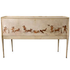 Italian Modern Parchment and Inlaid Mixed Wood Drop Front Desk, Paolo Buffa