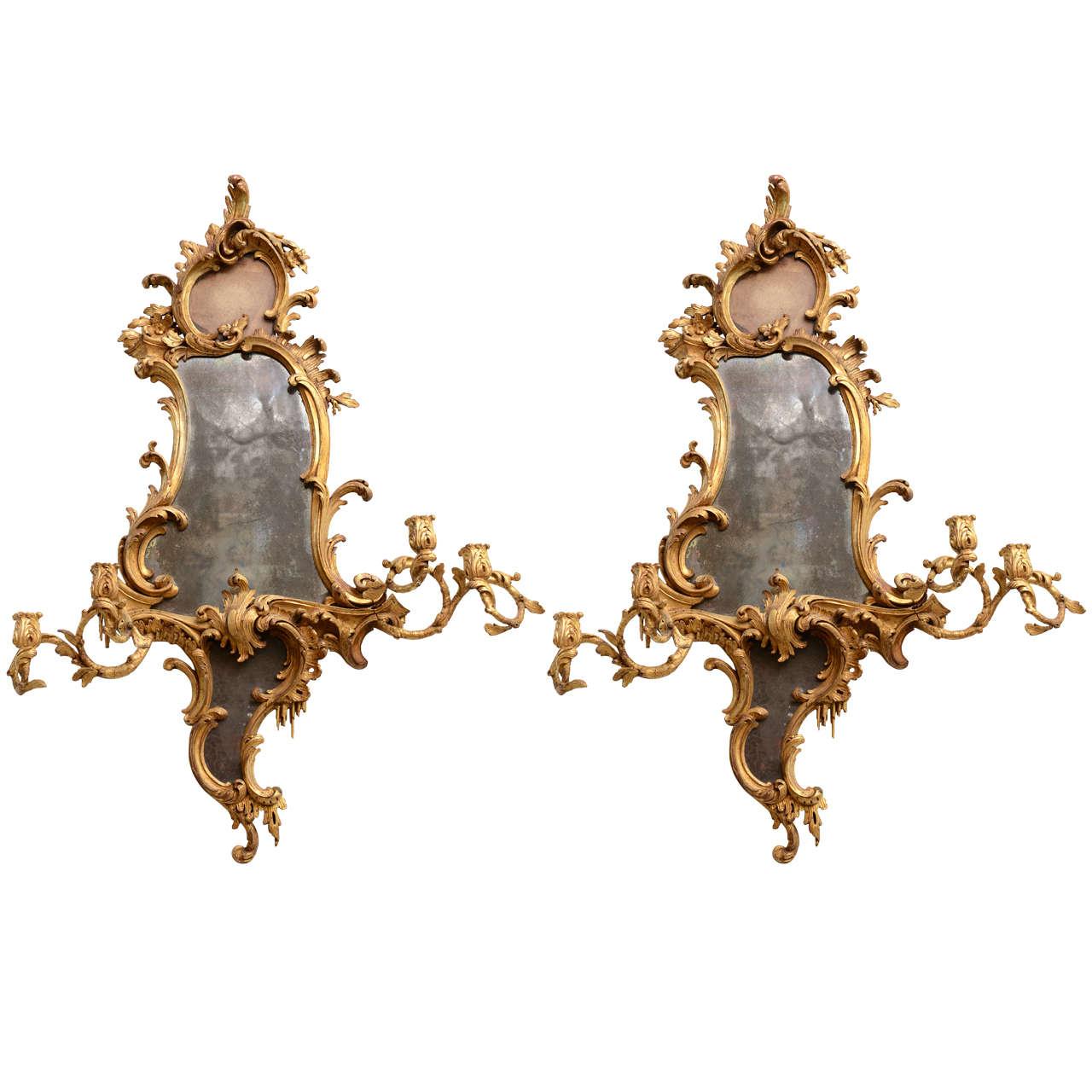 Fine Pair of George III Giltwood Girandole Mirrors, Thomas Chippendale