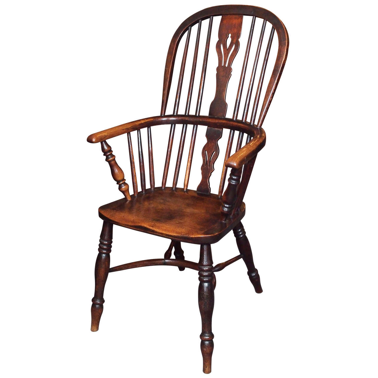 Antique English elm and ash Windsor chair with crinoline stretcher. For Sale - Antique English Elm And Ash Windsor Chair With Crinoline Stretcher