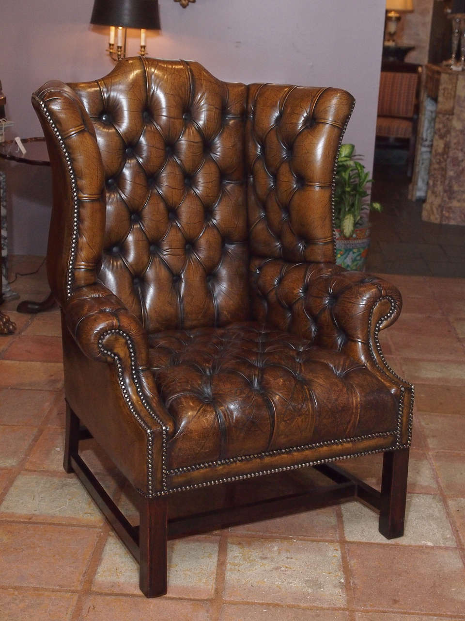 Antique English Brown Leather Wing Chair At 1stdibs