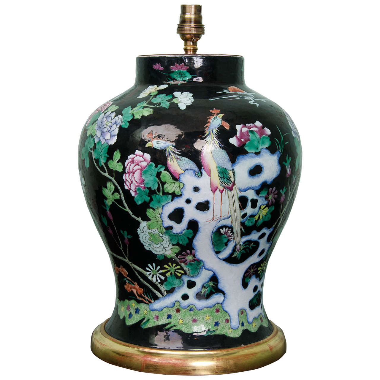 Chinese famille noire porcelain lamped baluster vase circa 1850 chinese famille noire porcelain lamped baluster vase circa 1850 for sale reviewsmspy