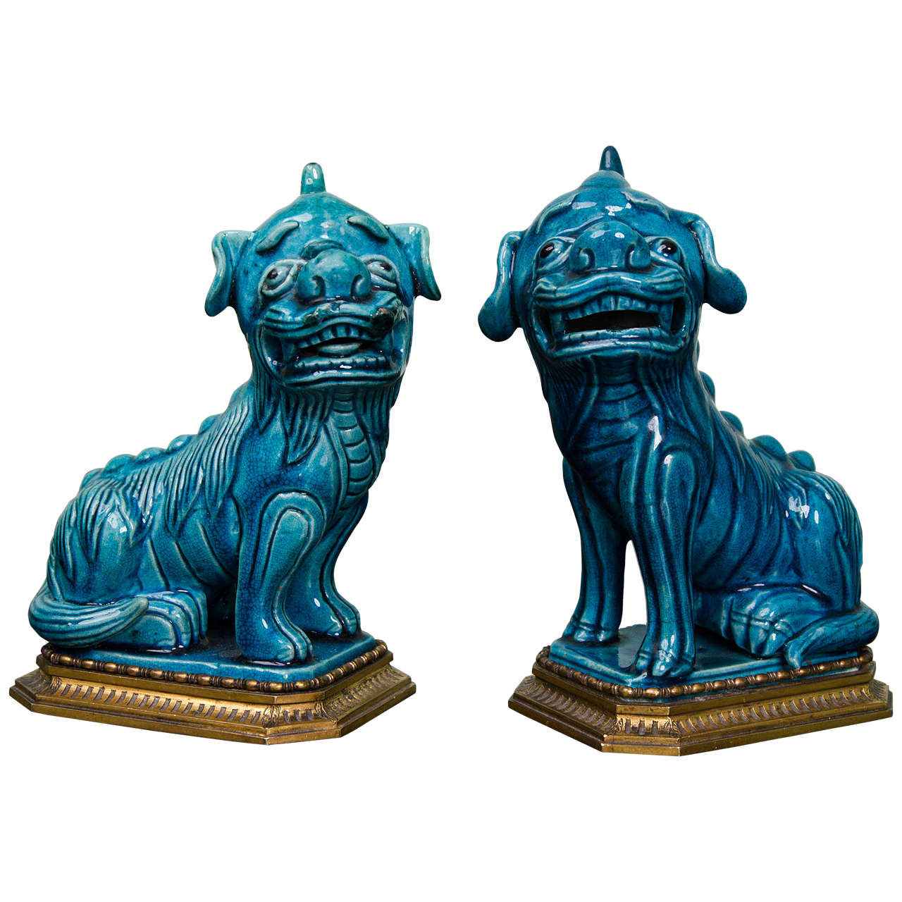 Pair of Chinese Turquoise Glazed Foo Dogs on Ormolu Mounts