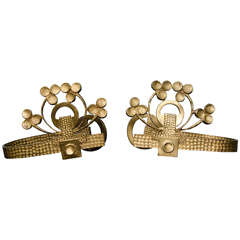 Pair of Brass Curtain Holders, Possibly Vienna Secession, circa 1900