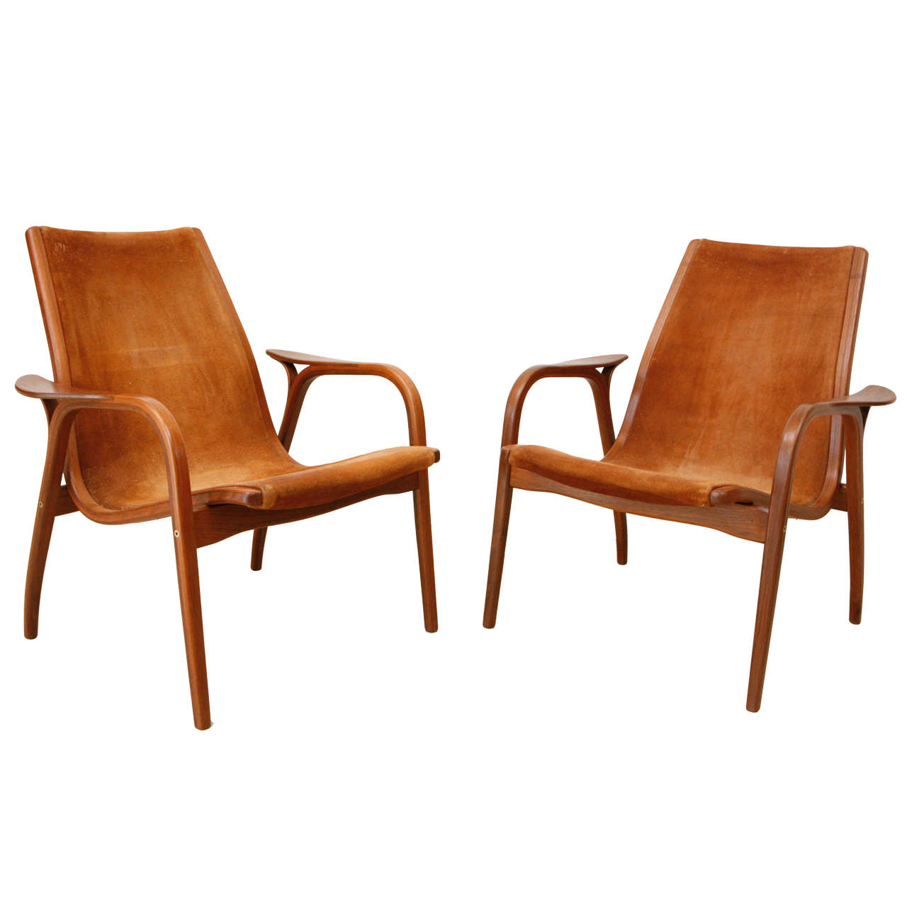 Pair of Lamino Low Back Lounge Chairs by Yngve Ekstrom at 1stdibs