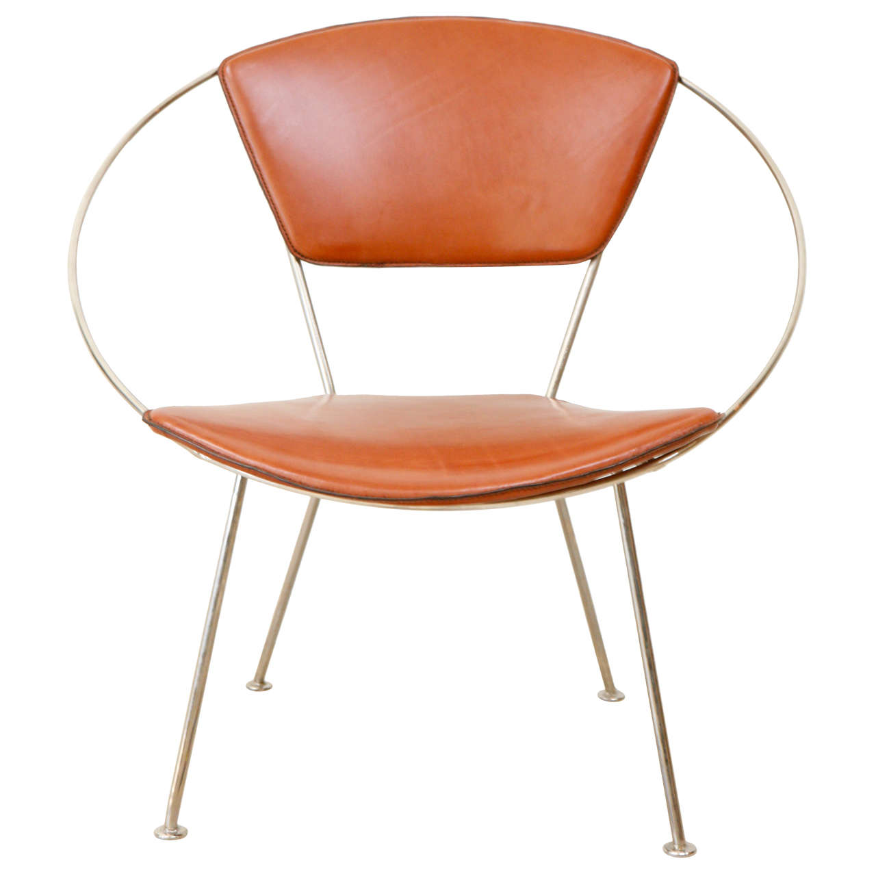 Beau Leather Hoop Chair By Raymond Loewy For Arvins For Sale