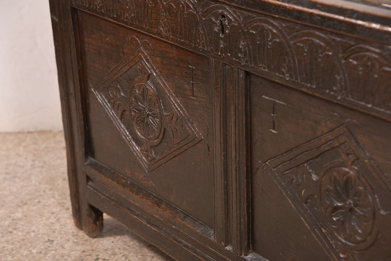 Jacobean Early English Oak Chest For Sale