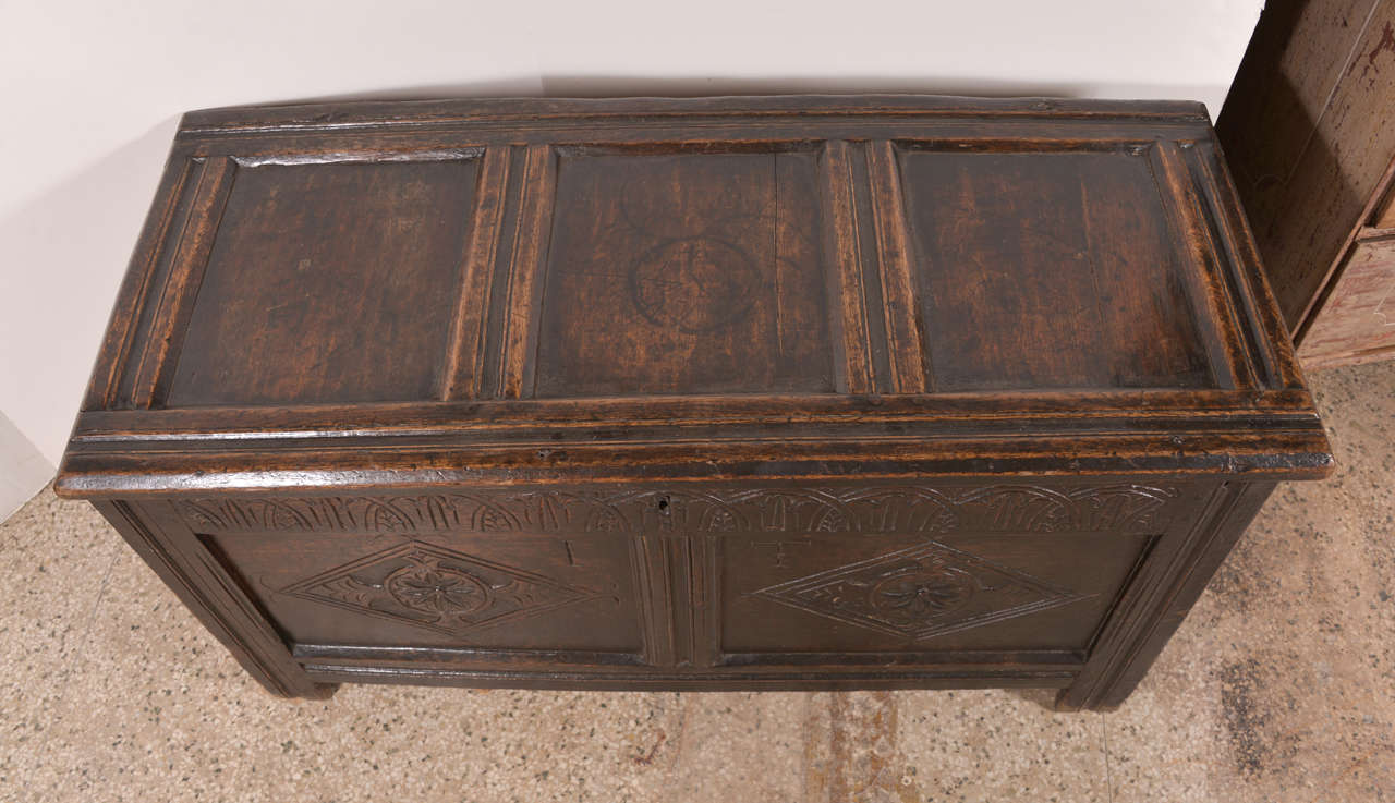 Hand-Carved Early English Oak Chest For Sale