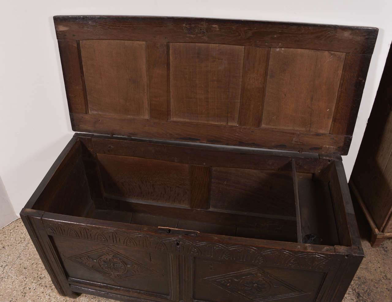18th Century Early English Oak Chest For Sale