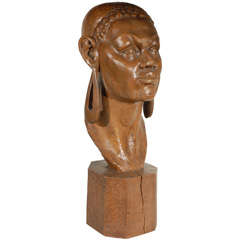 Carved African Wood Head