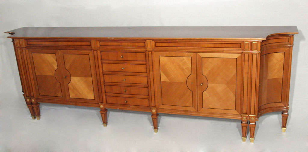 Magnificent Long Neoclassical French Walnut Sideboard or Credenza 2