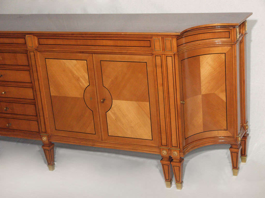Magnificent Long Neoclassical French Walnut Sideboard or Credenza 3
