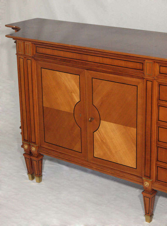 Magnificent Long Neoclassical French Walnut Sideboard or Credenza 5