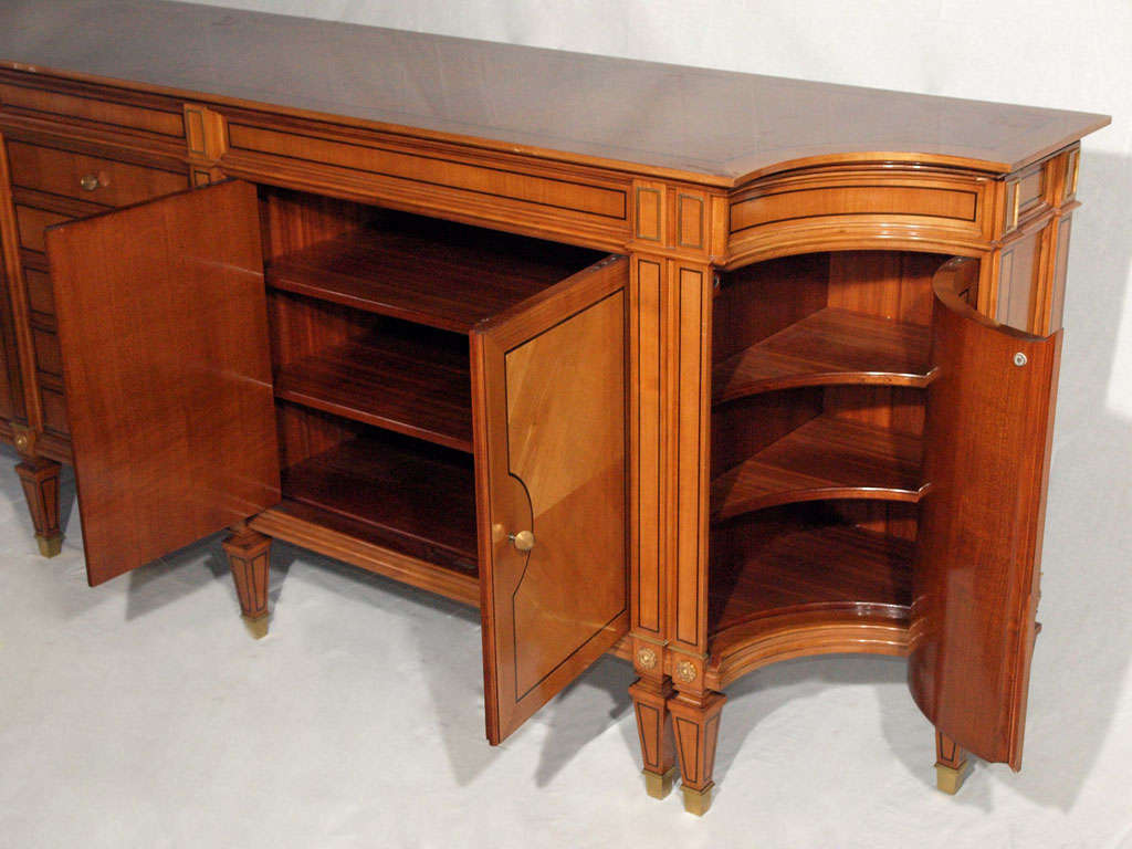 Magnificent Long Neoclassical French Walnut Sideboard or Credenza 6