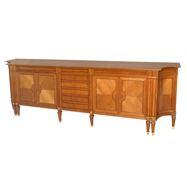 Magnificent Long Neoclassical French Walnut Sideboard or Credenza 1