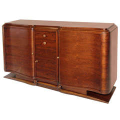 Refined French Art Deco Sideboard in Black Walnut