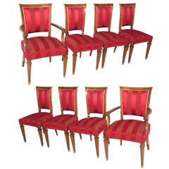 Exquisite Set of 8 French Walnut Empire Style Dining Chairs