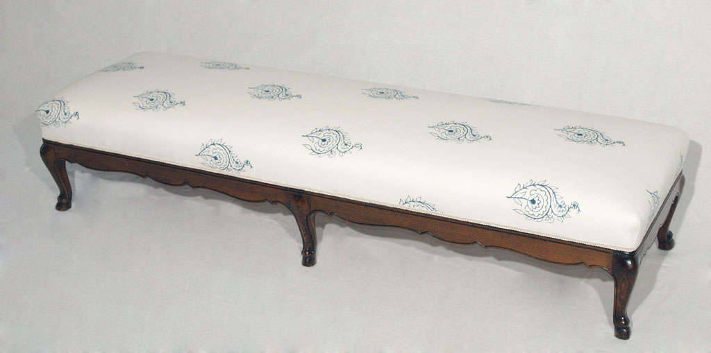 Extra Long Louis XV Bench or Ottoman with French-Indian Fabric 2
