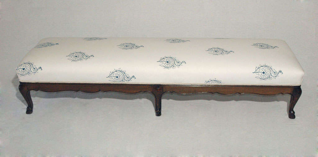 Extra Long Louis XV Bench or Ottoman with French-Indian Fabric 8