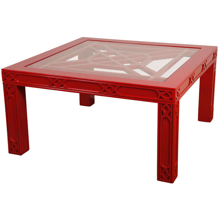 Vintage Red Lacquer Coffee Table At 1stdibs