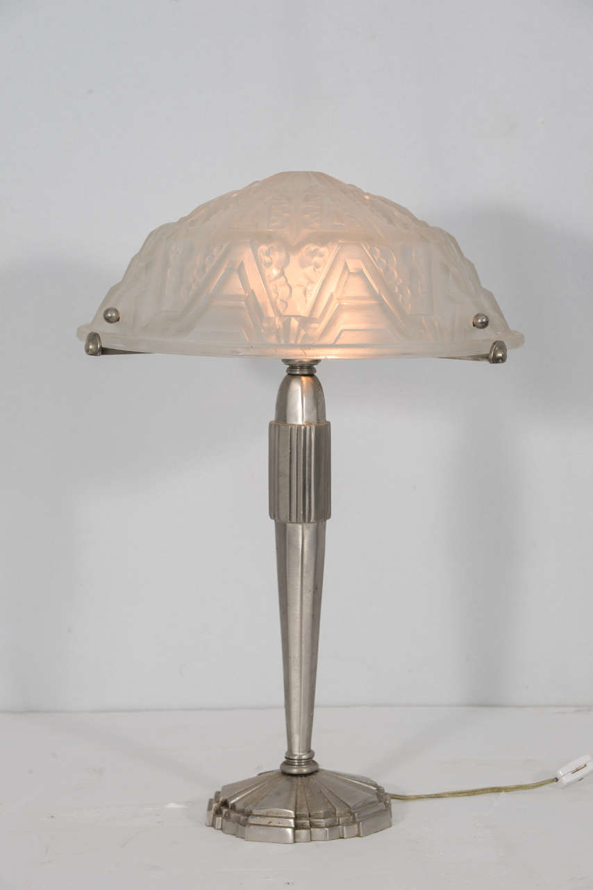 1920s French Art Deco Table Lamp With Signed Molded Glass Shade On An