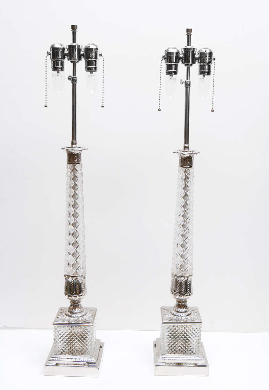 Pair of Vintage Cut Glass Lamps 2