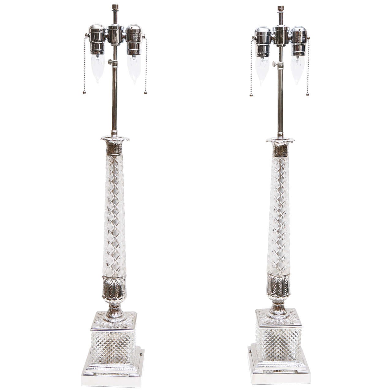 Pair of Vintage Cut Glass Lamps 1