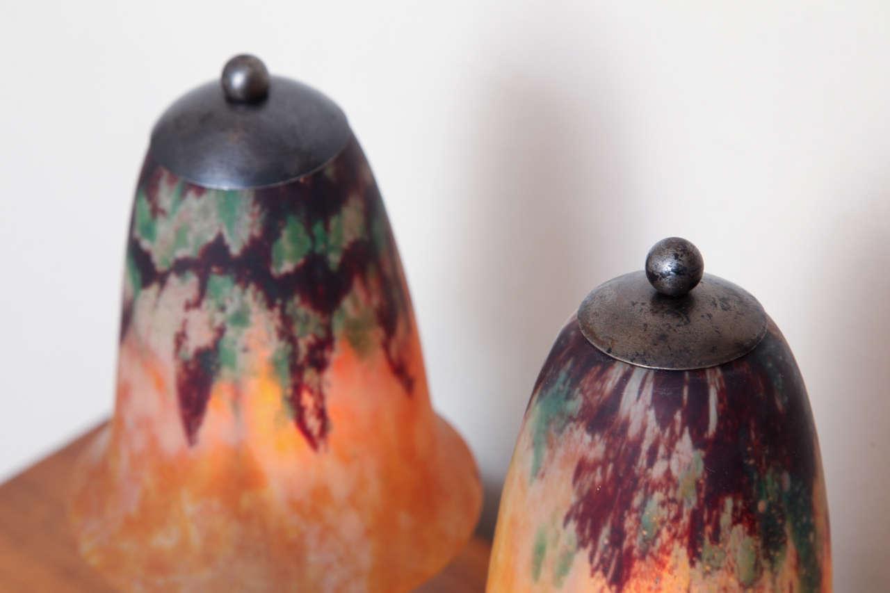 Mid-20th Century Pair of Edgar Brandt & Daum Art Deco Table Lamps For Sale
