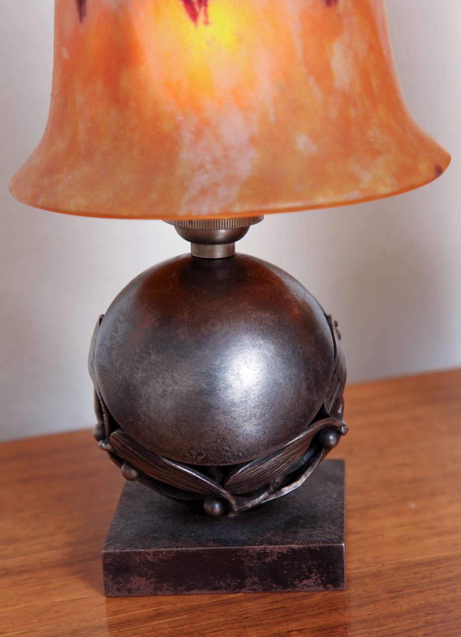 Pair of Edgar Brandt & Daum Art Deco Table Lamps For Sale 1