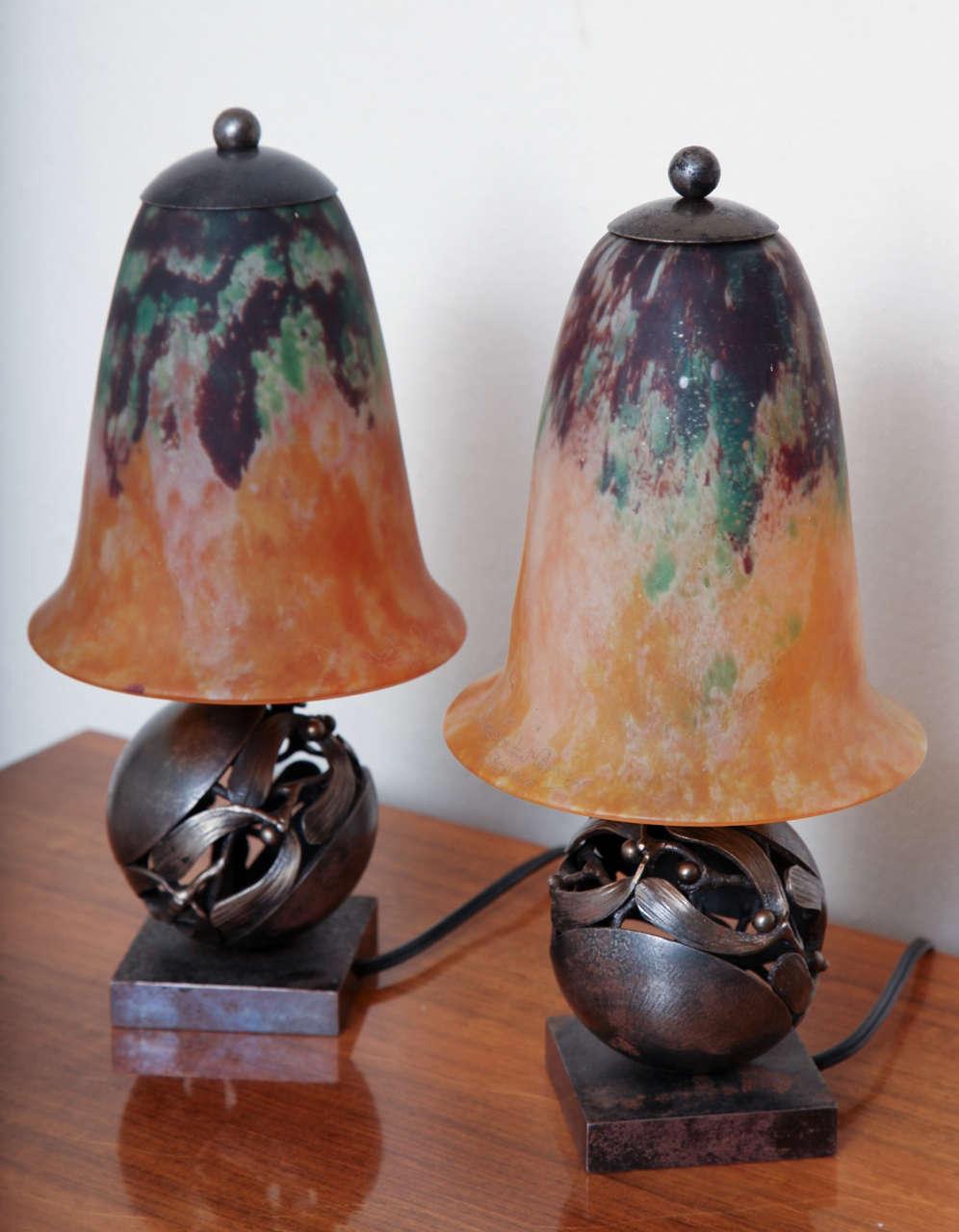 Pair of Edgar Brandt & Daum Art Deco Table Lamps For Sale 3