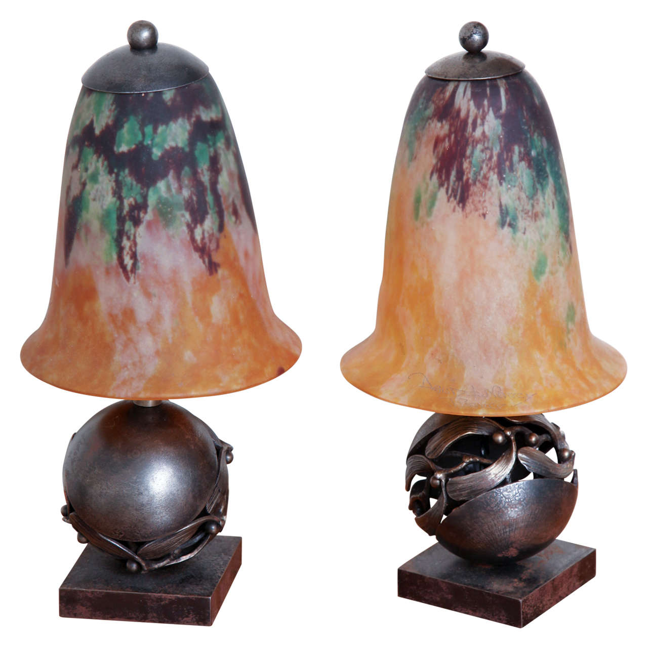 Pair of edgar brandt and daum art deco table lamps for sale at 1stdibs pair of edgar brandt daum art deco table lamps 1 geotapseo Images