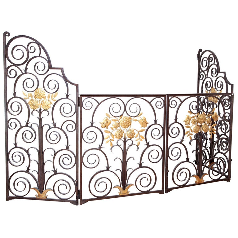 French 1940s Wrought Iron Screen/Gate For Sale