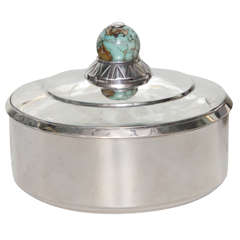 Jean Puiforcat Silver and Turquoise Box