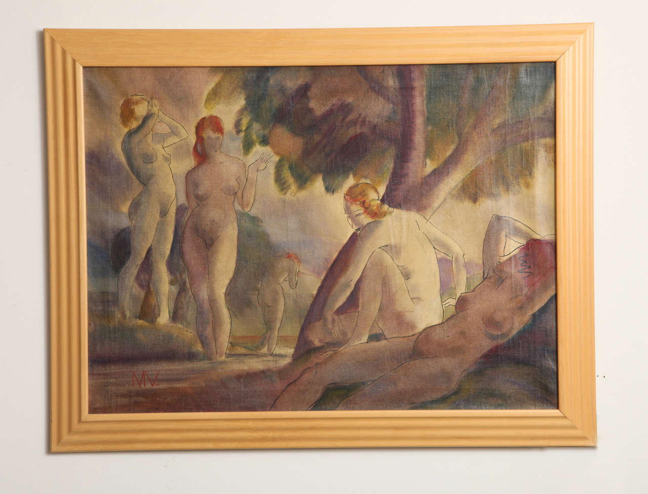 Mixed-media on canvas composition with bathing nudes, signed initialed lower left MV and dated 1938. Measures: 22 ½ x 30 ½ in.