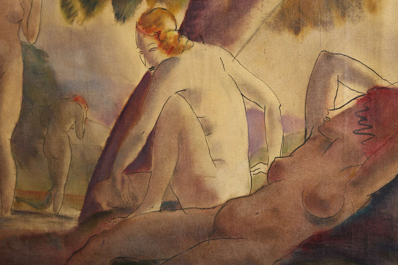 Canvas Bathing Nudes, 1938 For Sale