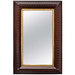 Wooden Mirror with Inset Gilt Frame
