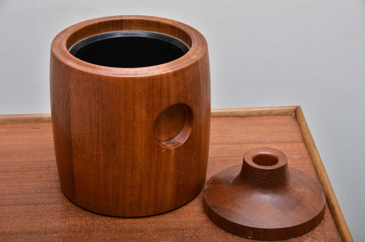 Danish Mid-Century Teak Ice Bucket For Sale