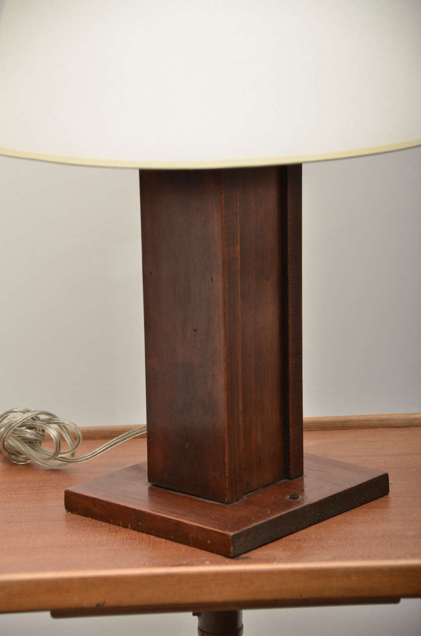 square mission style wooden table lamp at 1stdibs. Black Bedroom Furniture Sets. Home Design Ideas