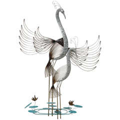 Curtis Jere Crane Birds Metal Art Sculpture, Mid-Century