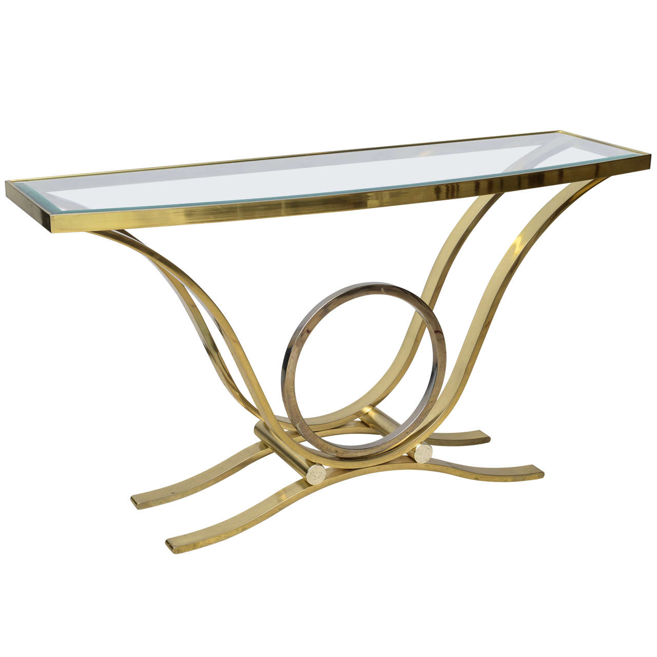 american modern brass and chrome glass top console table by  - american modern brass and chrome glass top console table by steven chase