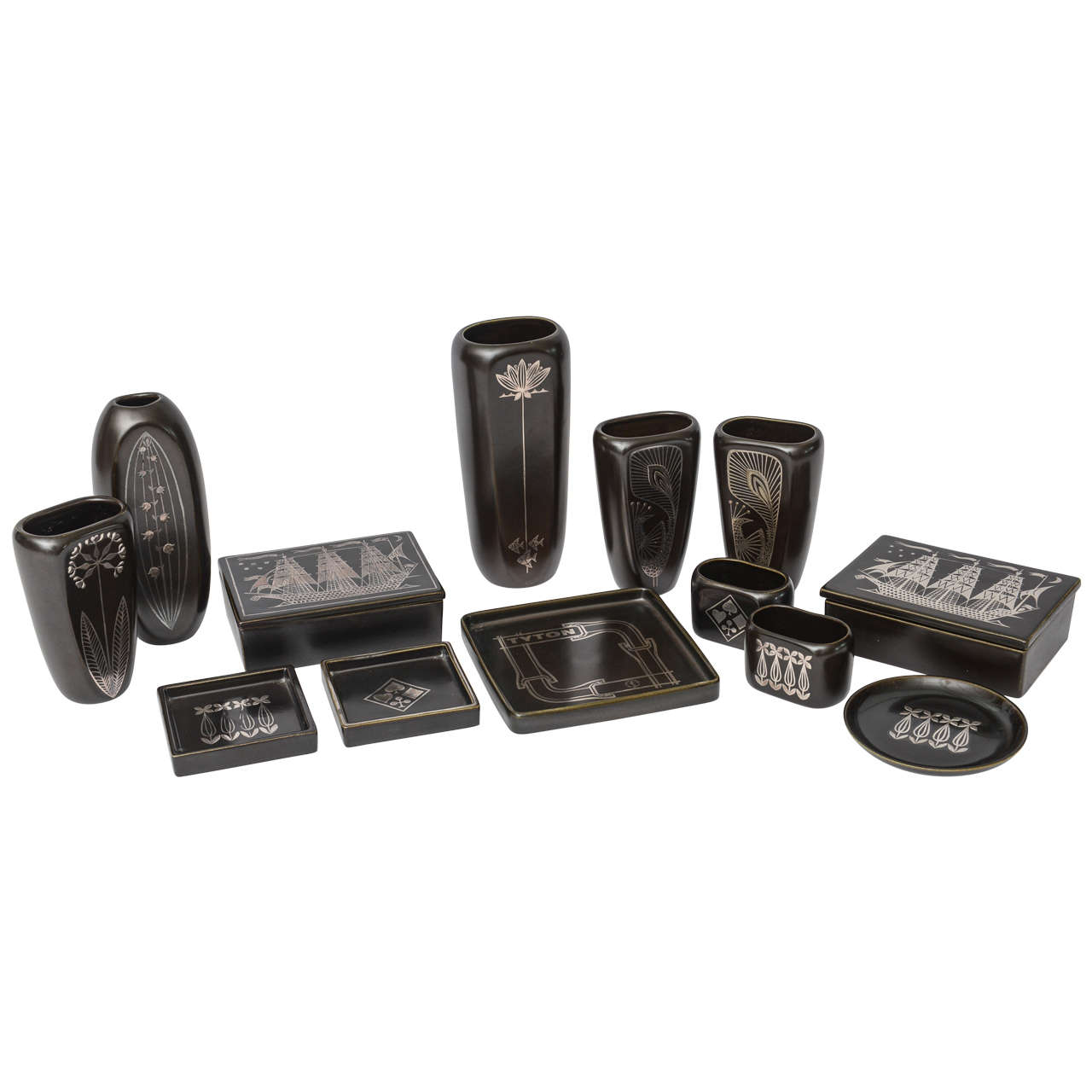 "Collection of Gustavsberg ""Argenta"" Ceramics in Black Glaze with Silver Inlay"