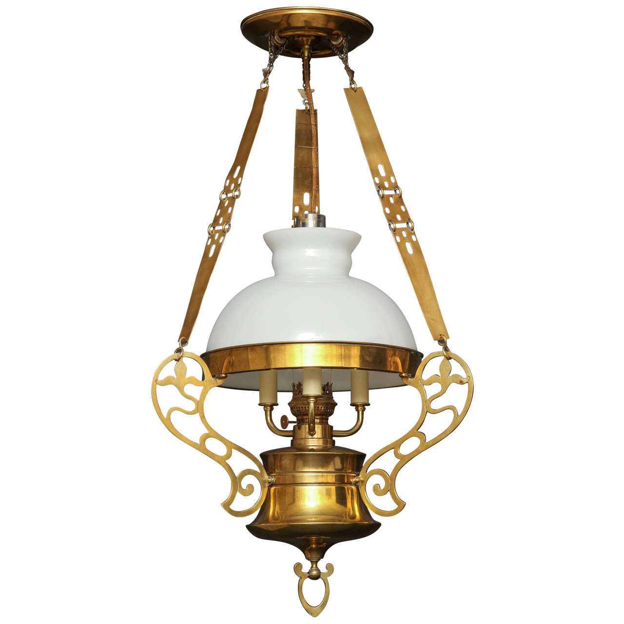 Arts and Crafts Brass Chandelier with Opaline Glass Shade
